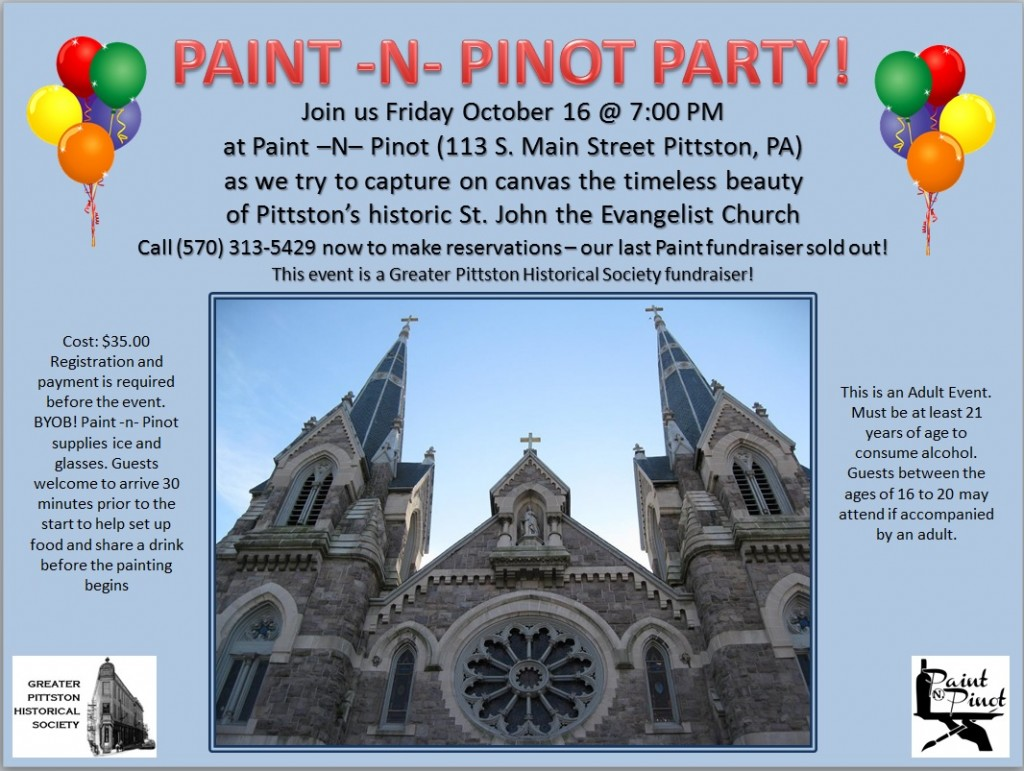 Paint n Pinot Fundraiser 10-16-15 7pm